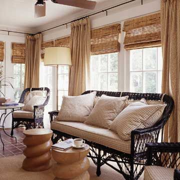Bamboo window treatments for Bamboo shades in living room
