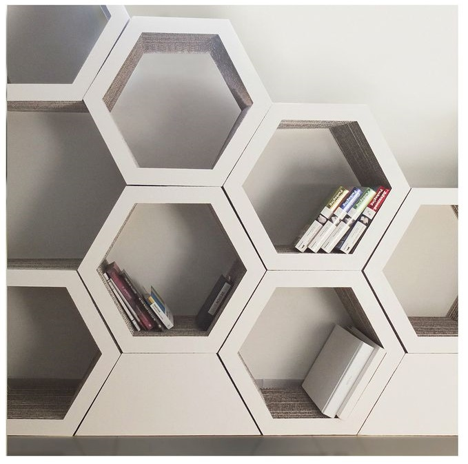 Wire basket shelves Cute shelving idea Honeycomb shelves for books
