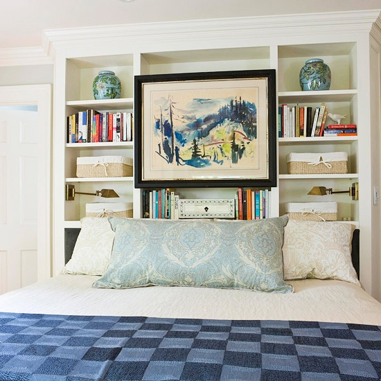 18 amazing diy headboard ideas How to store books in a small bedroom