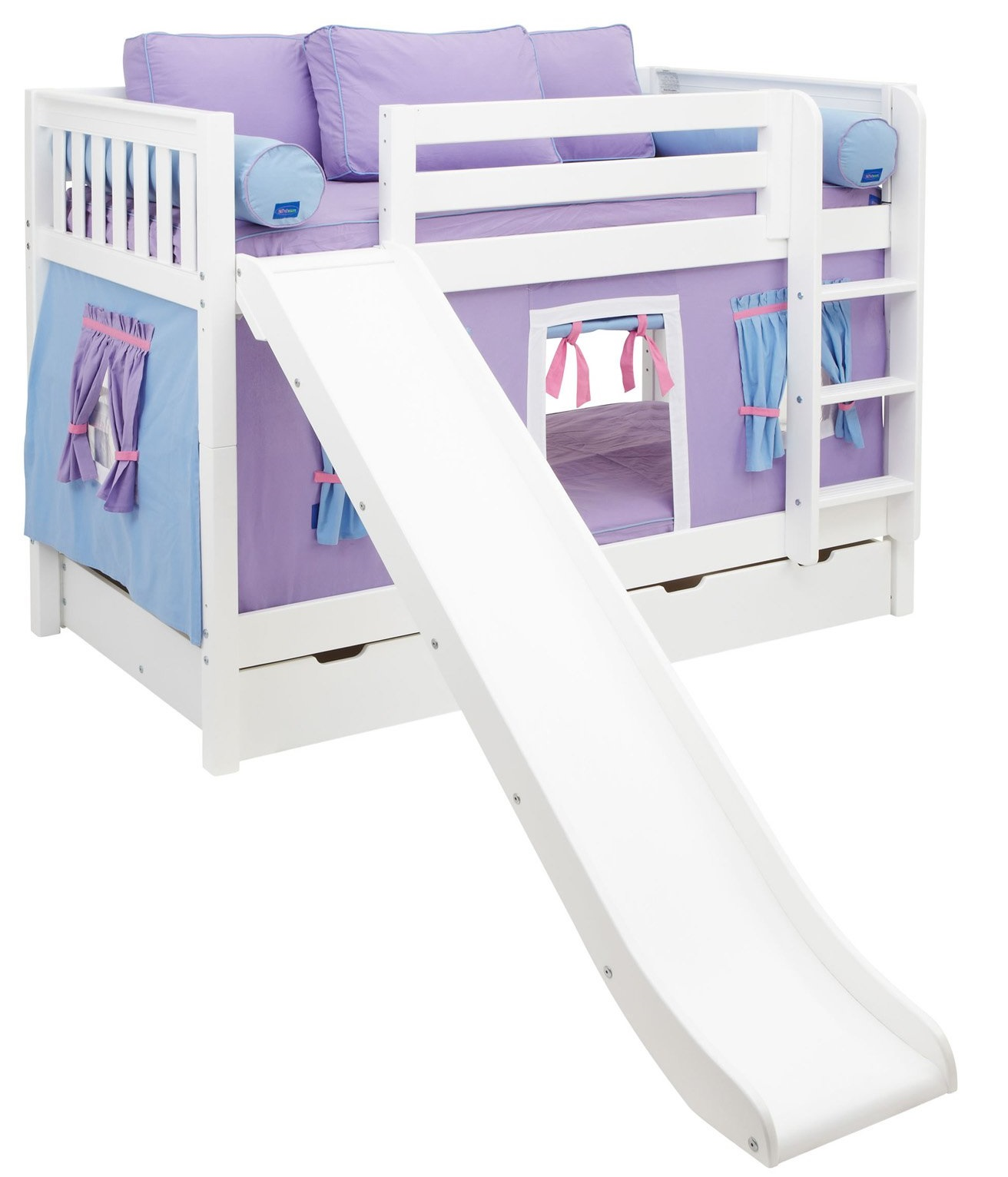 Bunk bed with slide for girls - Smile Girl Twin Over Twin Slat Tent Bunk Bed