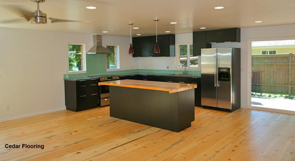 Cedar floor for the kitchen