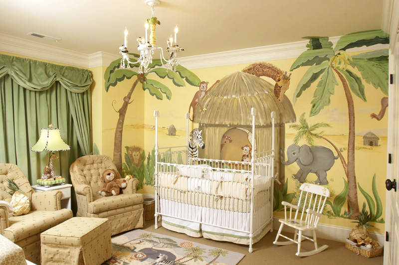 Safari themed baby boy room decor